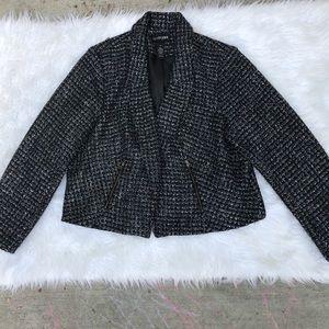 Lane Bryant metallic tweed crop moto blazer 20